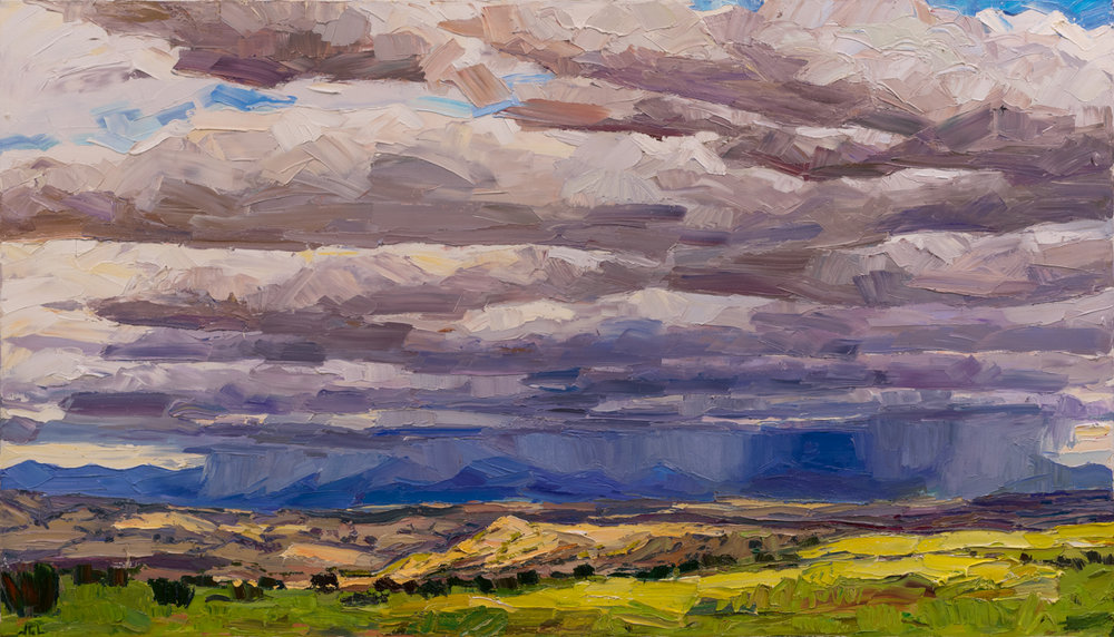 "Spring's welcome return, 40"" x 70"", oil on linen. Painting on location south of Santa Fe, NM."