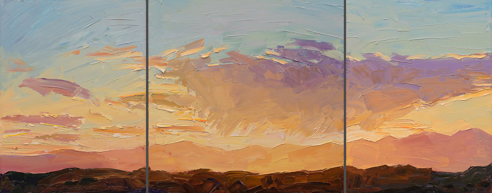 "Circle Drive #4 - sunset, 24"" x 60 triptych"
