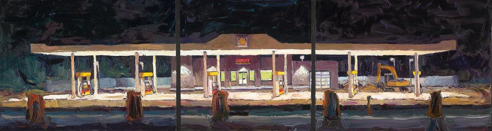 El Prado #1 - The new gas station, 10pm; 30x110 (triptych), o/p,