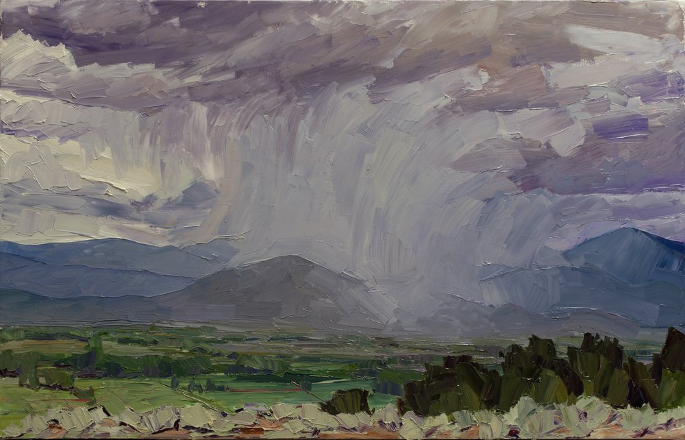 "Homeward #6 - down to the valley, 30"" x 50"", oil on linen"