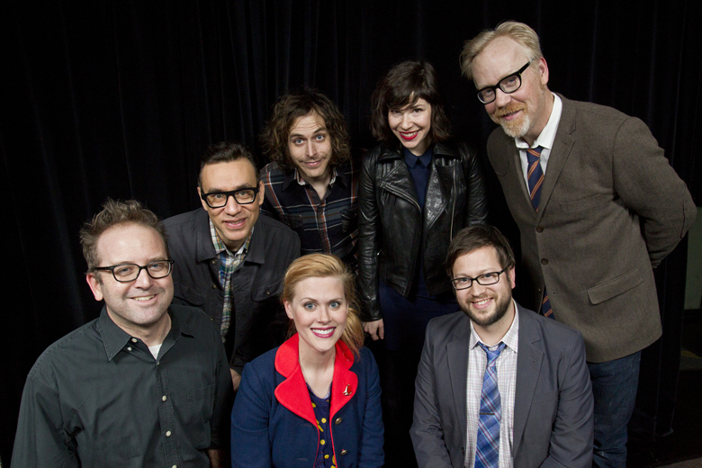 David Owen, Fred Armisen, Jonathan Krisel, Carrie Brownstein, Adam Savage and Janet Varney