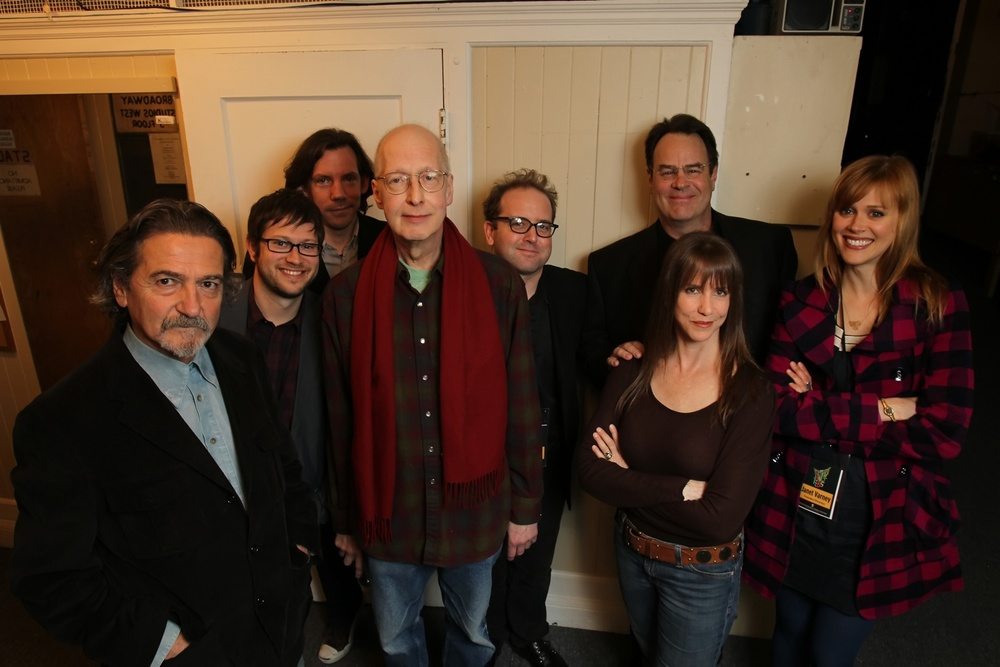 Don Novello, Carl Arnheiter, David Owen, Tom Davis, Dan Aykroyd, Laraine Newman and Janet Varney