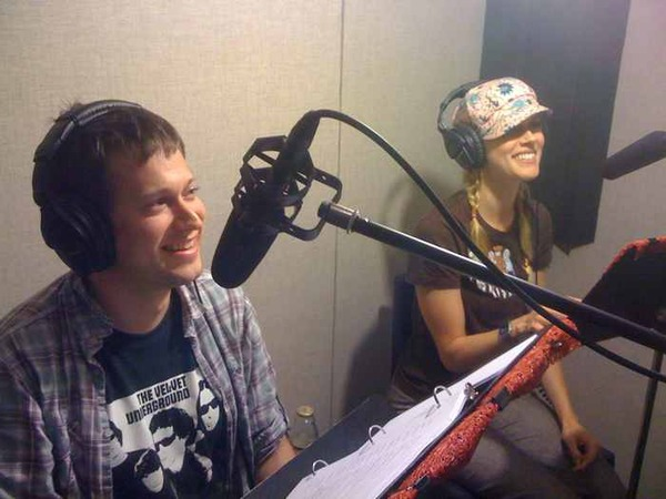 "In the booth with Janet Varney recording ""Footloose"""