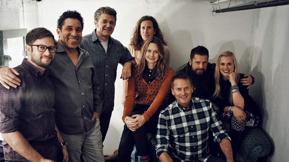 Theme Park 2016 with Cole Stratton, Oscar Nunez, John Michael Higgins, Ian Brennan, Jessica Makinson, Michael Hitchcock, James Roday and Janet Varney. Photo by Steve Agee.