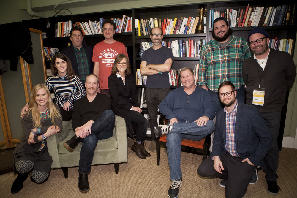 Mary Holland, Michael Showalter, Matt Walsh, Matt Besser, Sally Field, Brian Huskey, Ian Roberts and Jon Gabrus. Photo by Tommy Lau.