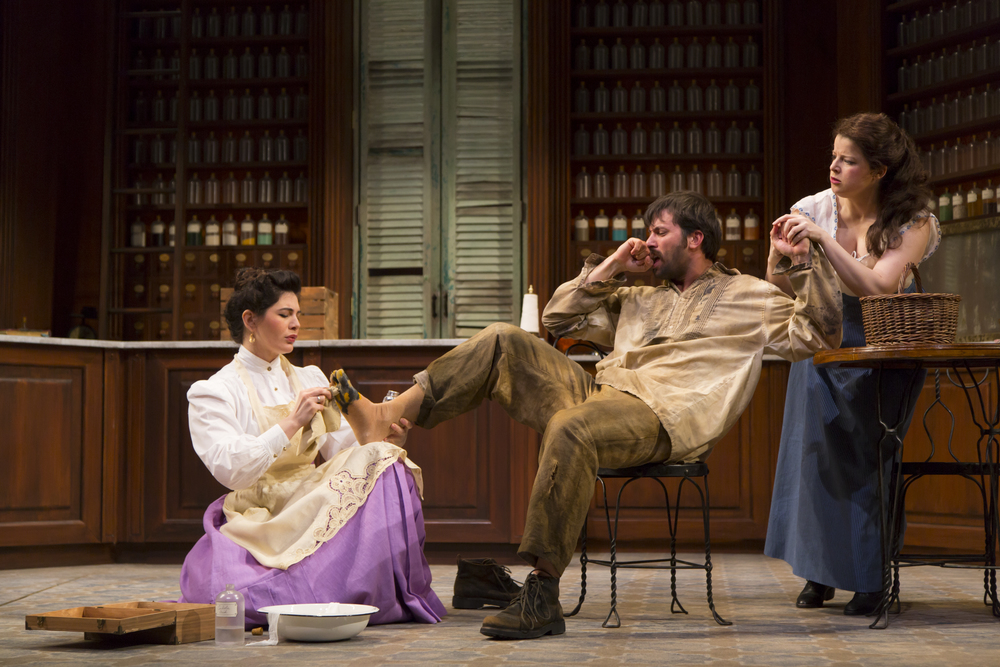 Christina Pumariega, Juan Javier Cardenas, and Rebecca Soler in the Huntington Theatre Company's production of Melinda Lopez's BECOMING CUBA.  March 28 - May 3, 2014 at South End / Calderwood Pavilion at the BCA. huntingtontheatre.org. Photo T. Charles Erickson