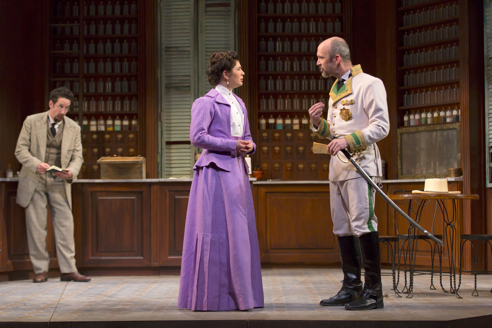 Christopher Tarjan, Christina Pumariega, and Christopher Burns in the Huntington Theatre Company's production of Melinda Lopez's BECOMING CUBA.  March 28 - May 3, 2014 at South End / Calderwood Pavilion at the BCA. huntingtontheatre.org. Photo T. Charles Erickson