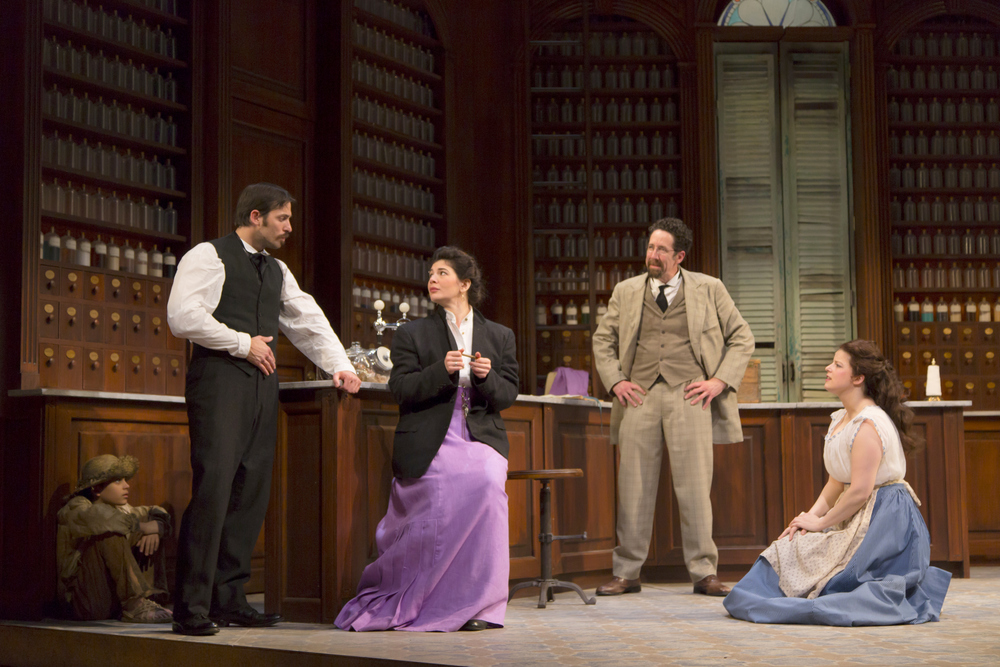 Brandon Barbosa, Juan Javier Cardenas, Christina Pumariega, Christopher Tarjan, and Rebecca Soler in the Huntington Theatre Company's production of Melinda Lopez's BECOMING CUBA.  March 28 - May 3, 2014 at South End / Calderwood Pavilion at the BCA. huntingtontheatre.org. Photo T. Charles Erickson