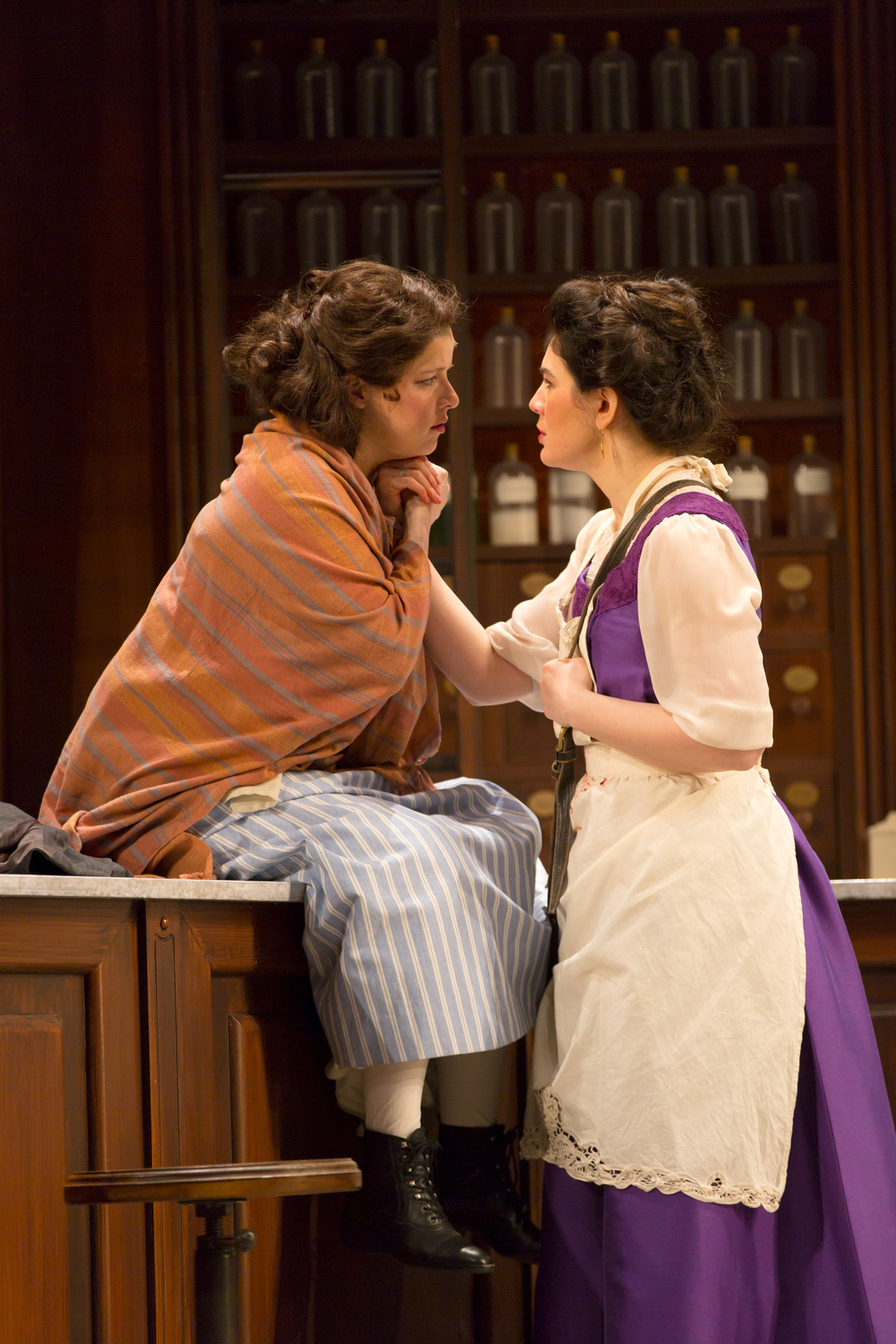 Rebecca Soler and Christina Pumariega in the Huntington Theatre Company's production of Melinda Lopez's BECOMING CUBA.  March 28 - May 3, 2014 at South End / Calderwood Pavilion at the BCA. huntingtontheatre.org. Photo T. Charles Erickson