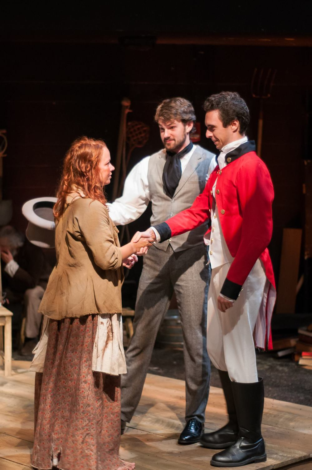 Sarah Elizabeth Bedard, Matthew Barrett, and Patrick Varner in  Translations . Photo: Paul Cantillon / LIDEC Photo