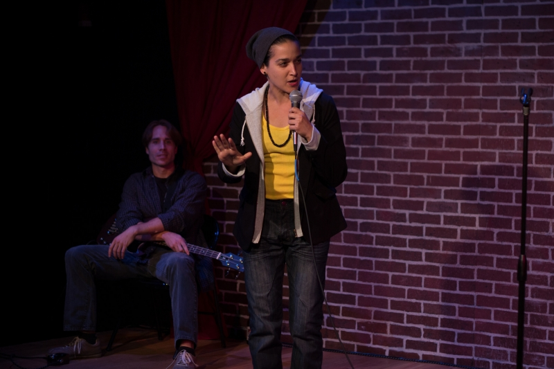 Casey Preston and Aila Peck in  Brahman/i: A One Hijra Stand-Up Comedy Show  presented by Company One. Photo: Paul Fox