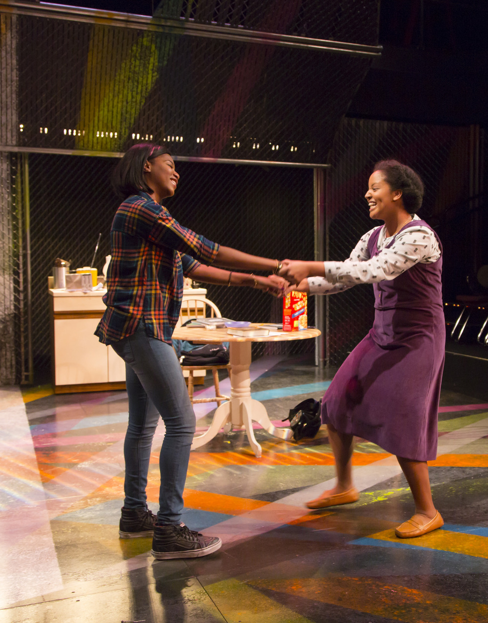 Jasmine Carmichael and Shanae Burch in  Milk Like Sugar. Milk Like Sugar  plays from January 29 – February 27, South End / Calderwood Pavilion at the BCA. Photo by T. Charles Erickson.