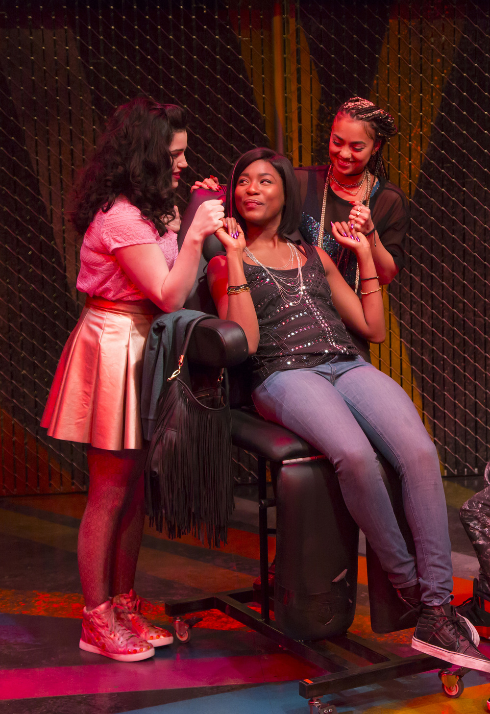 Carolina Sanchez, Jasmine Carmichael, and Shazi Raja in  Milk Like Sugar. Milk Like Sugar  plays from January 29 – February 27, South End / Calderwood Pavilion at the BCA. Photo by T. Charles Erickson.