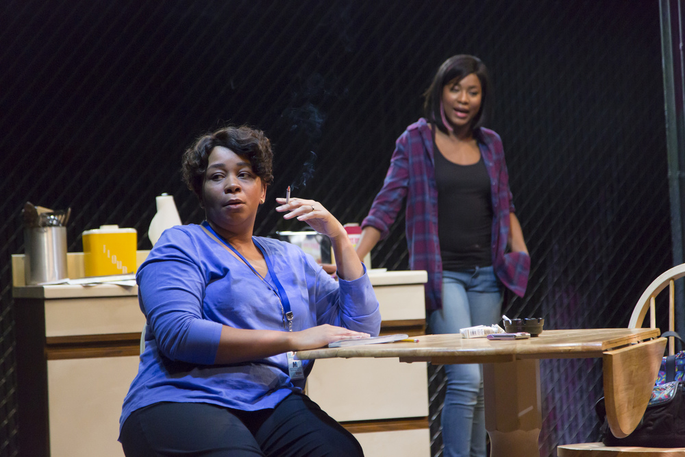 Ramona Lisa Alexander and Jasmine Carmichael in  Milk Like Sugar. Milk Like Sugar  plays from January 29 – February 27, South End / Calderwood Pavilion at the BCA. Photo by T. Charles Erickson.