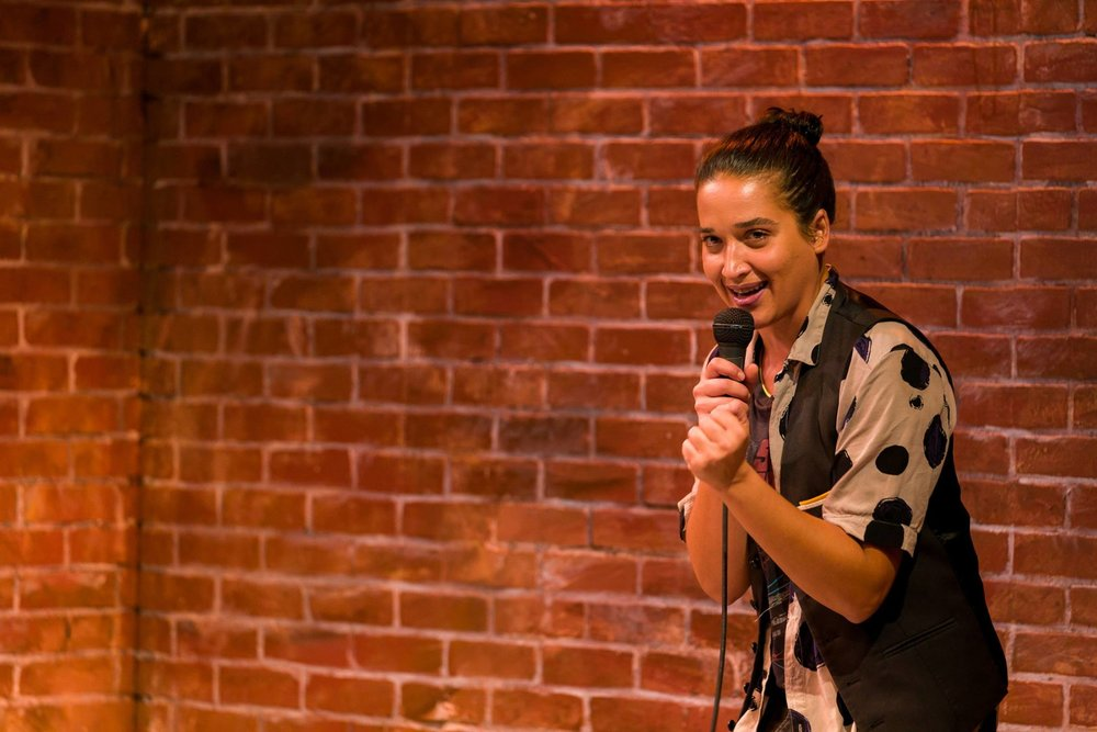 Alia Peck in  Brahman/I: A One-Hijra Stand-Up Comedy Show  at Kitchen Theatre Company. Photo: Dave Burbank
