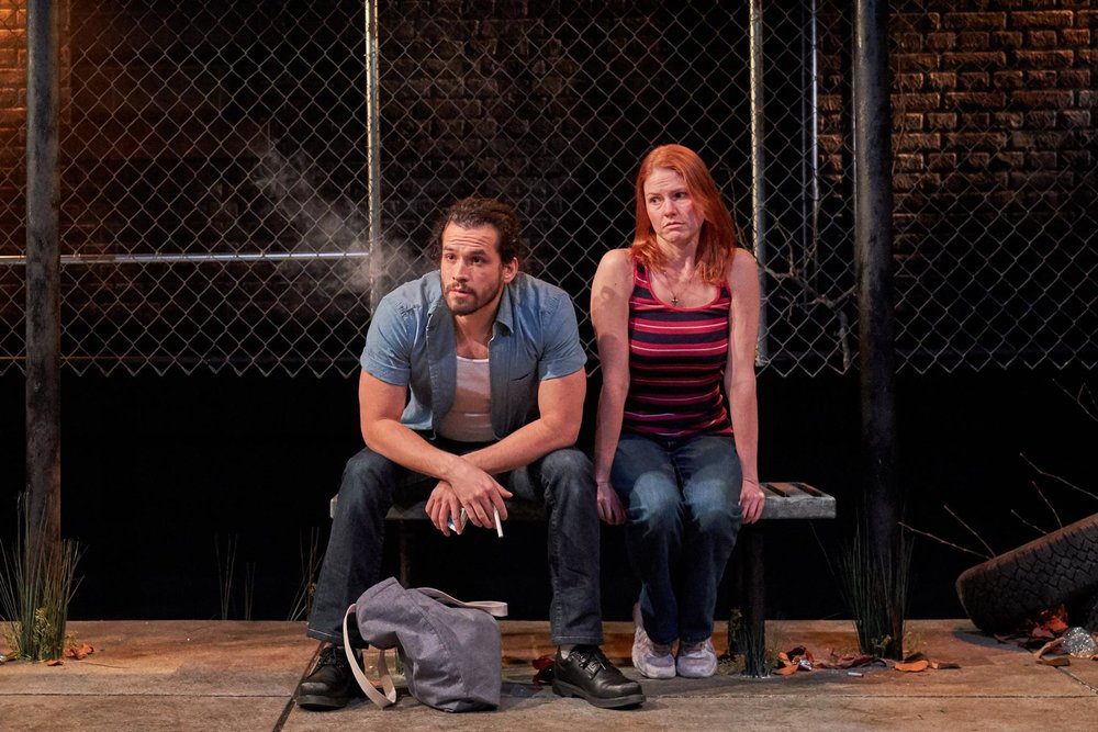 Marcin Pawlikiewicz and Kate MacCluggage in  Ironbound  at the Kitchen Theatre Company. Photo: Dave Burbank