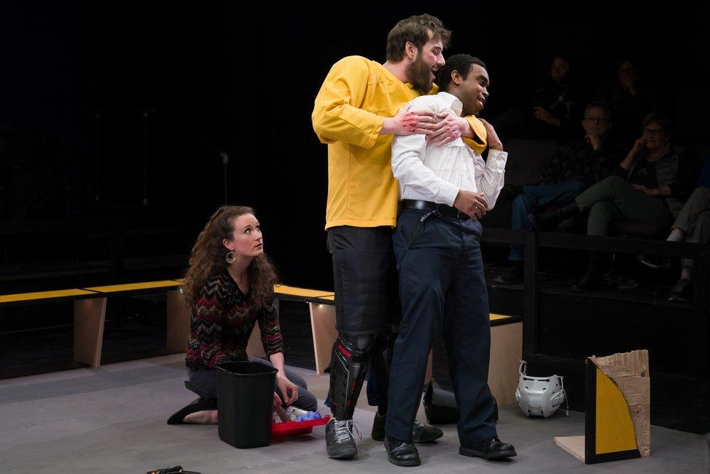 Gigi Watson, Greg Maraio, and Marc Pierre in Walt McGough's  Brawler  at the Kitchen Theatre Company, directed by M. Bevin O'Gara. Photo: Dave Burbank