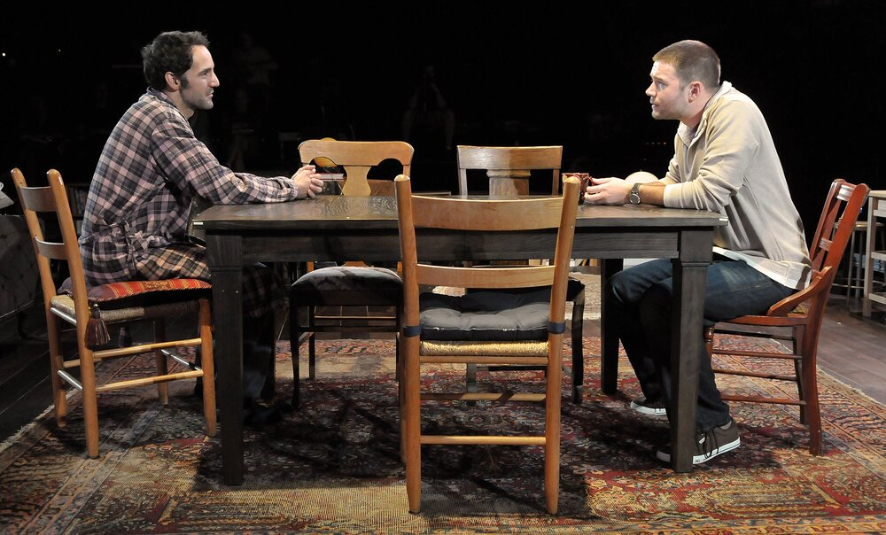 Nael Nacer and James Caverly in the SpeakEasy Stage Company production of TRIBES directed by M. Bevin O'Gara. Photo: Craig Bailey / Perspective Photo