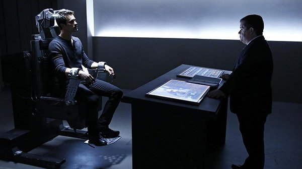 Agent Grant Ward (Brett Dalton) sits on the hot seat to determine his trustworthiness by Eric Koenig (Patton Oswalt) - Courtesy ABC