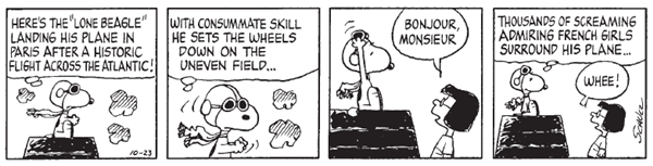 The Lone Beagle flies his dog house like any good dog should in a classic Peanuts strip. (Courtesy King Features)