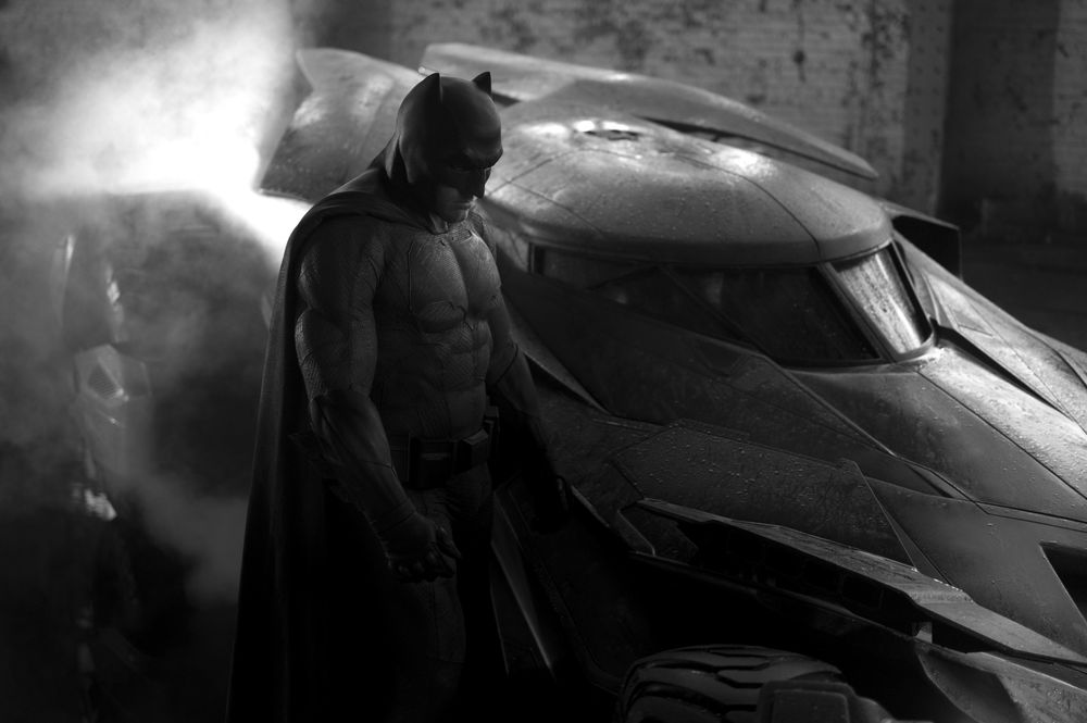 Ben Affleck dons the Batsuit for the first time in the upcoming untitled Batman/Superman film. (Courtesy Zack Snyder)