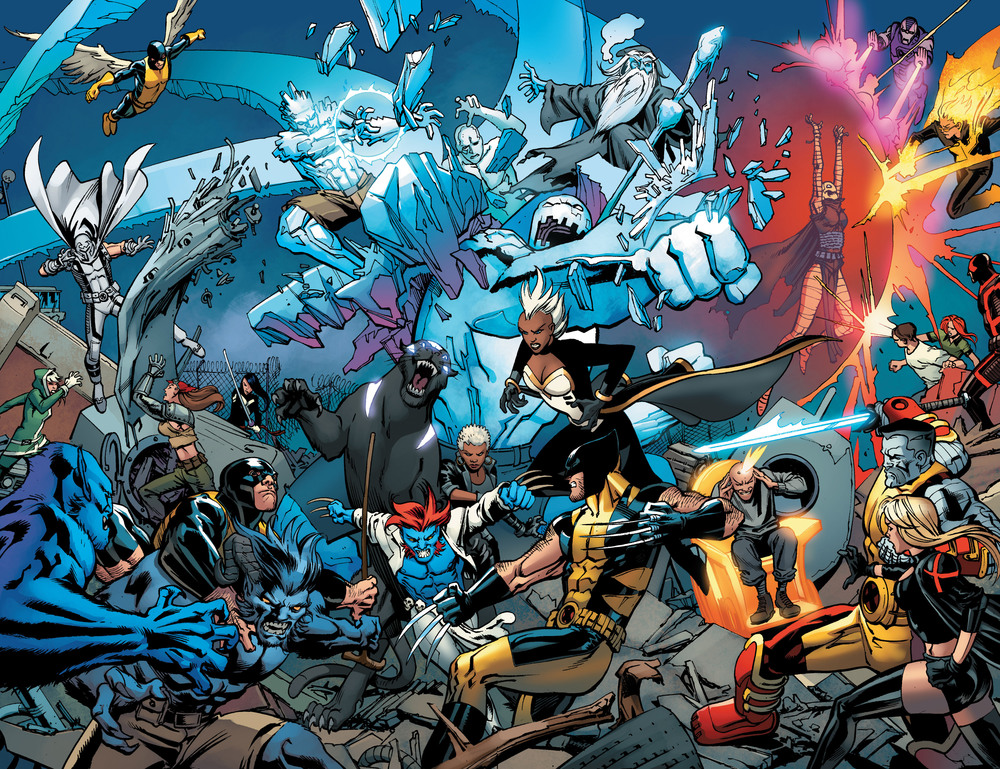 Past, present and future X-Men all come together to battle... okay, who brought the panther in the middle?