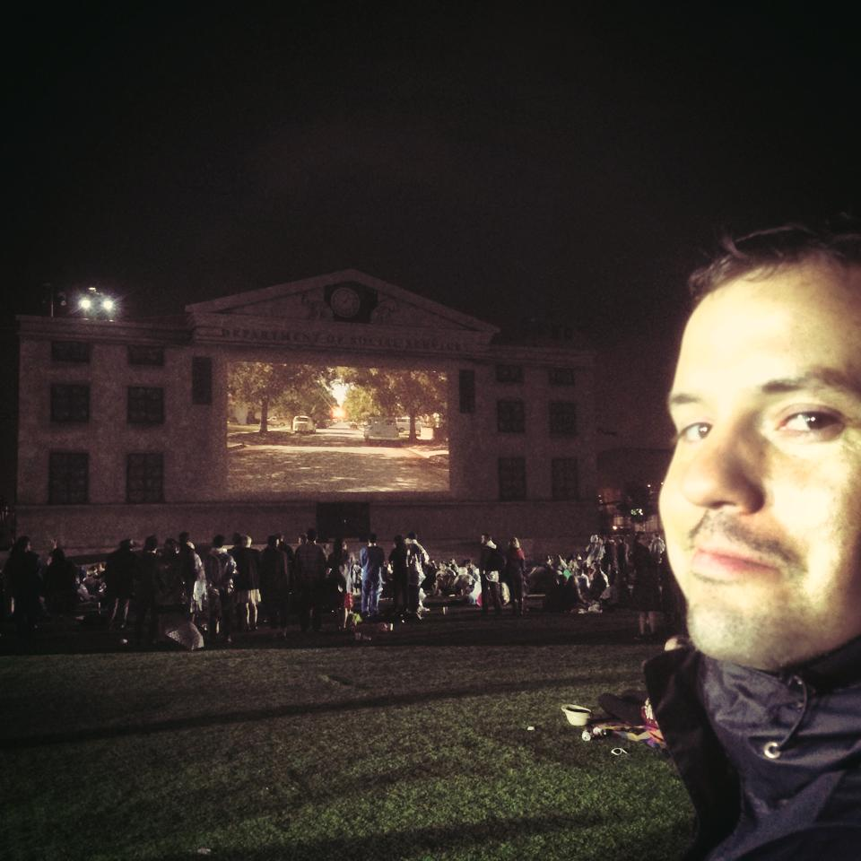The giant-sized visage of your SPT curator in front of the closing moments of the (very rainy) screening.