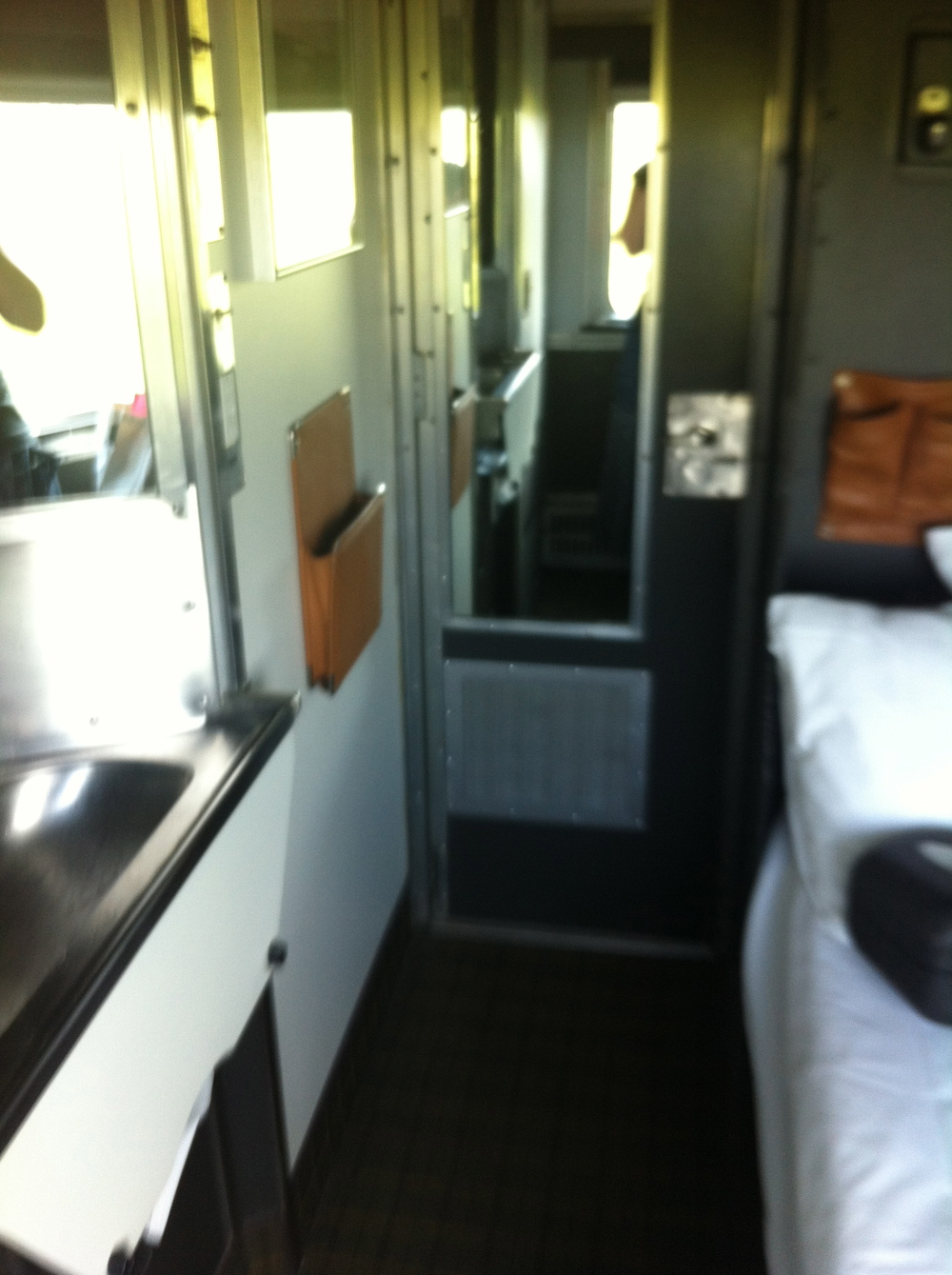 My cabin on the train, as seen from the window side.