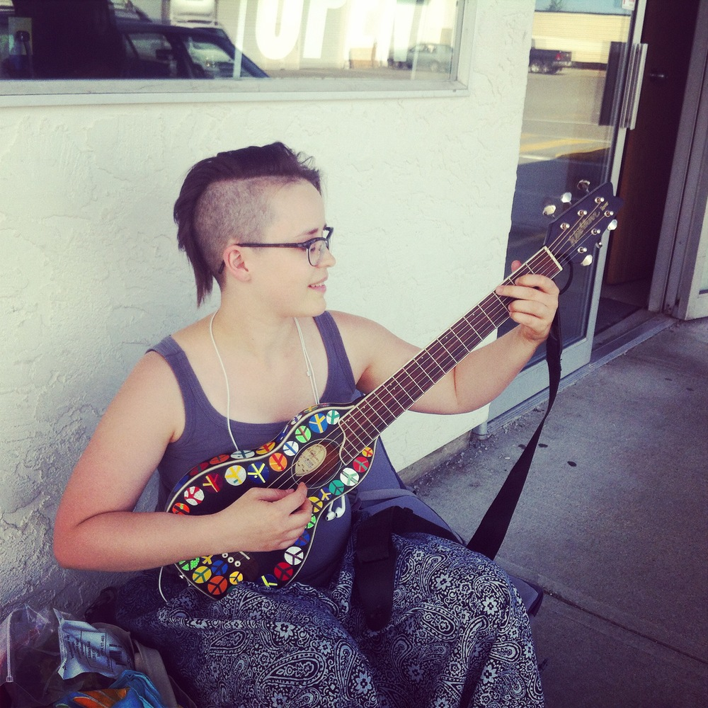 Sometimes, when you wait for a bus, a stranger hands you a tiny guitar. Thanks Scott! :)   - Courtenay, BC