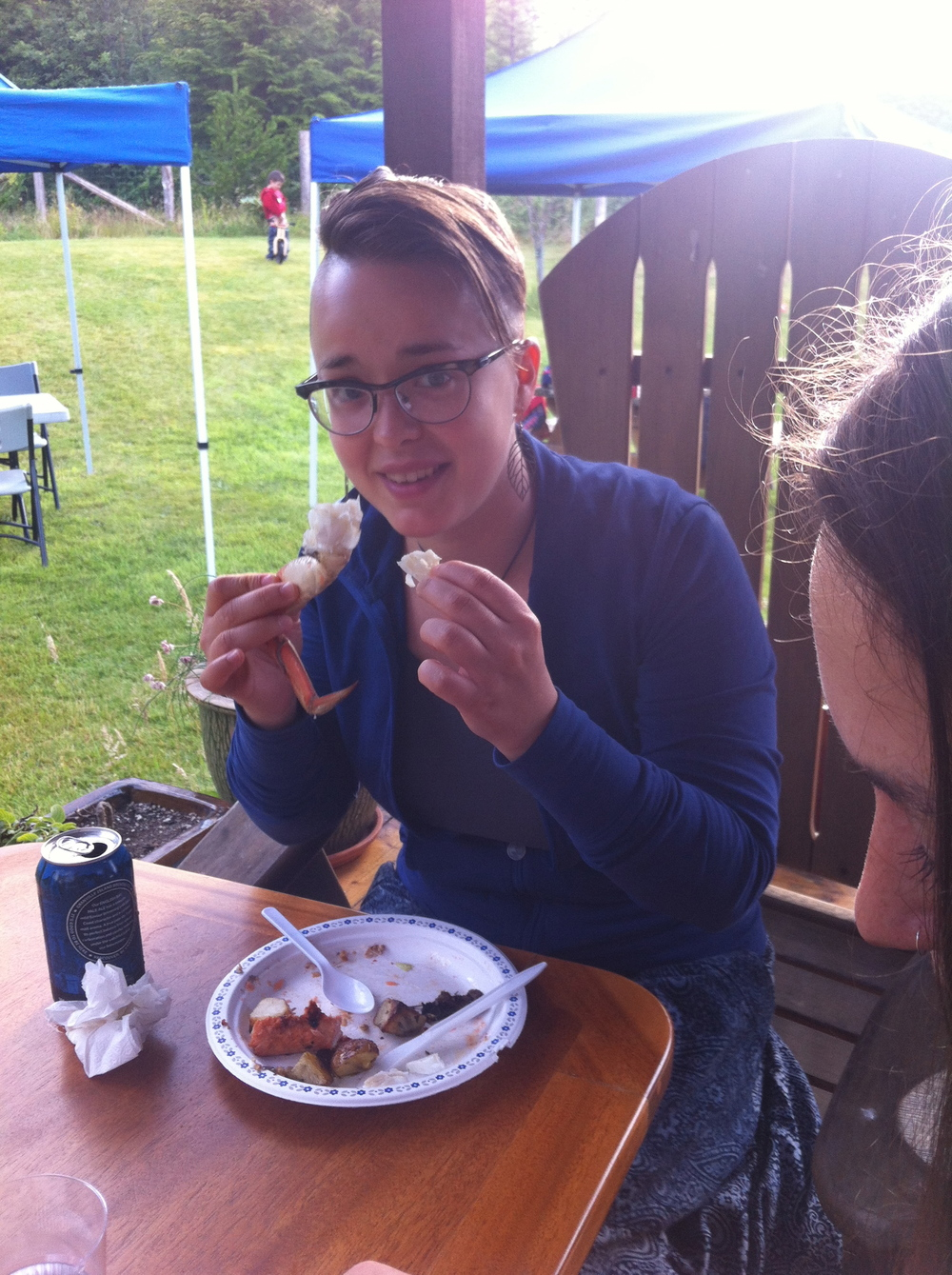 First ever crab eating! It was...interesting. I just don't know if this prairie gal is built for crab consumption.   - Haida Gwaii, BC