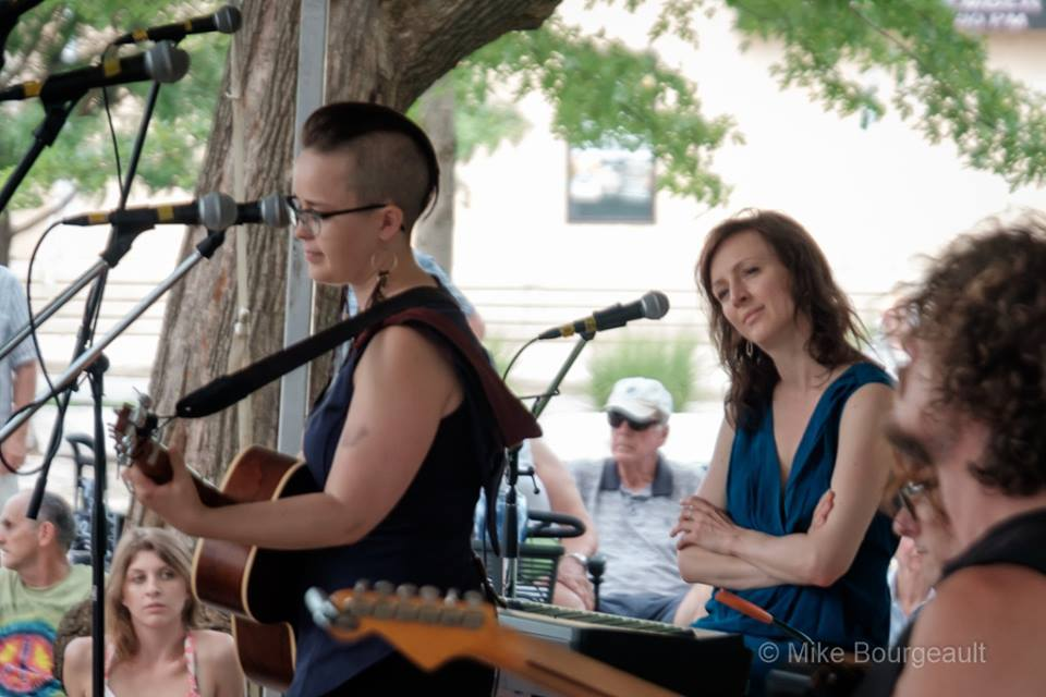 Performing in a workshop with Sarah Slean. (Photo: Mike Bourgeault)