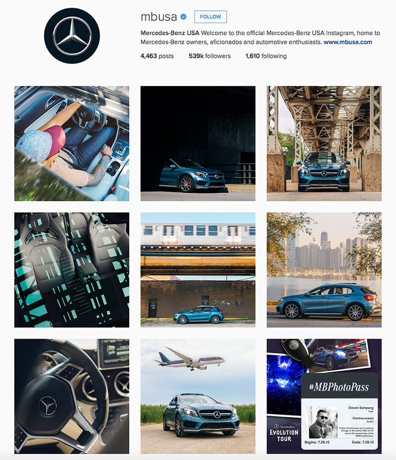 Instagram content created for Mercedes Benz  #MBPhotoPass campaign