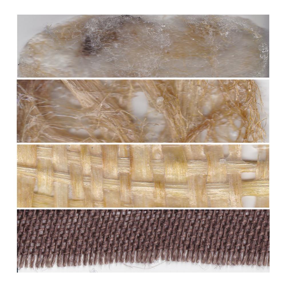 1. Wool + Corn Silk | 2. Corn Silk | 3. Woven Corn Husk | 4. Burlap Fabric