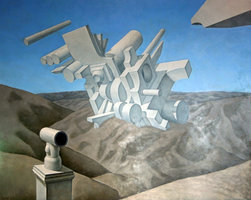 Untitled, Construction chimney pot and landscape (The Site) 1969 Acrylic on board