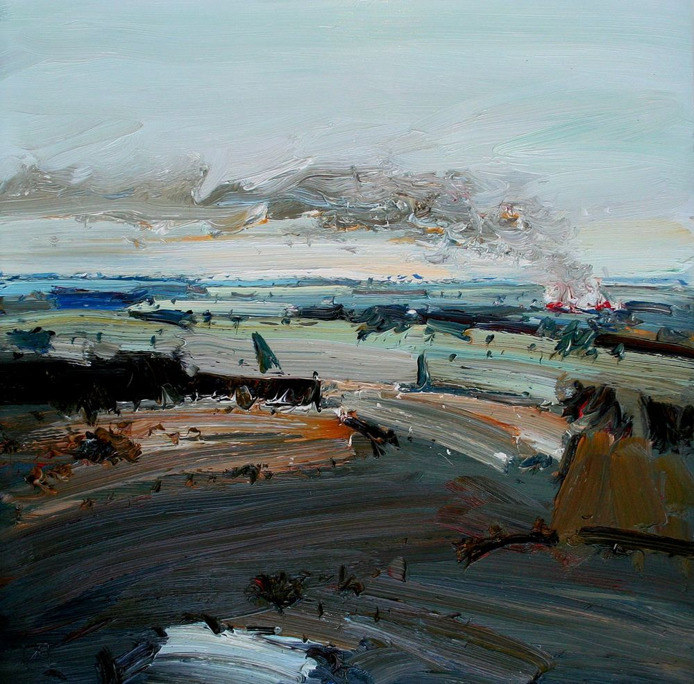 John Badcock Burn Off Oil on Board 76 x 76 cm