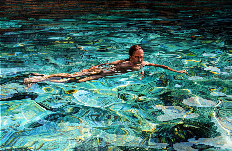 Swimming in cyan champagne 2013 Oil on canvas 500 x 1000 mm