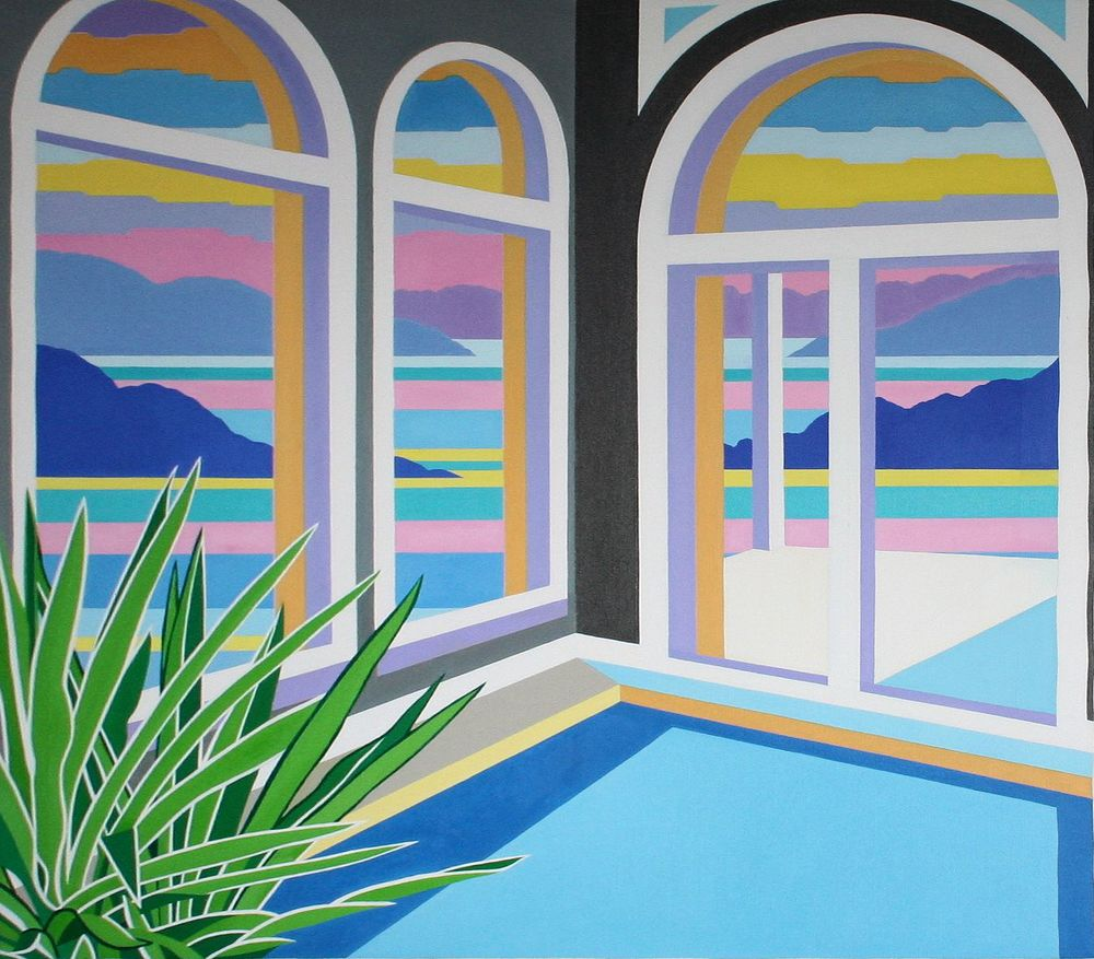 Madeline Kidd        Sunset Painting          oil on board, 101 x 91 cm, 2011