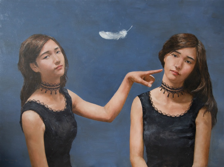 Two of me, 2014 Oil on canvas  1200 x 750 mm
