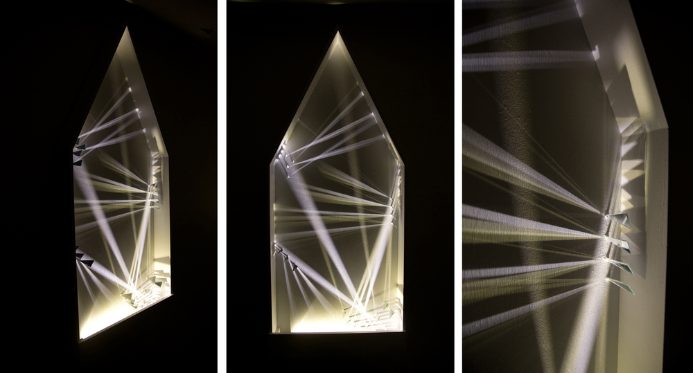 Alvin Xiong                                       Moonlight Waltz                         LED, wood, custom glass, electrical component , 2014