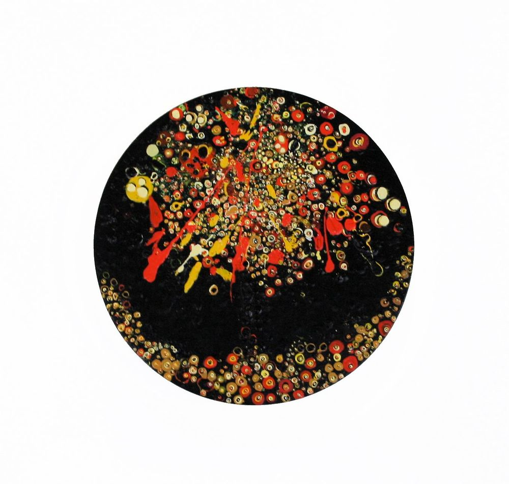 Alison Granville                                                                                           Okahu Bay Fireworks                                                                                    Acrylic on canvas                                                                                                   300 mm diameter , 2014