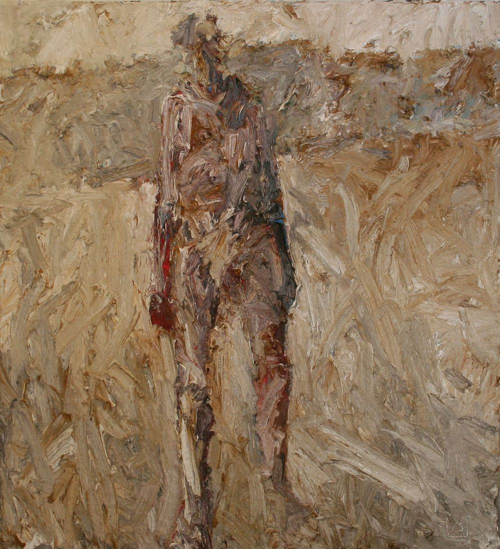 John Badcock                         Figure in Landscape                    Oil on canvas                                 1000 x 880 mm , 2014