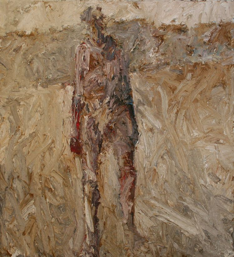 John Badcock, Figure in Landscape, oil on canvas, 1000 x 880 mm, 2014