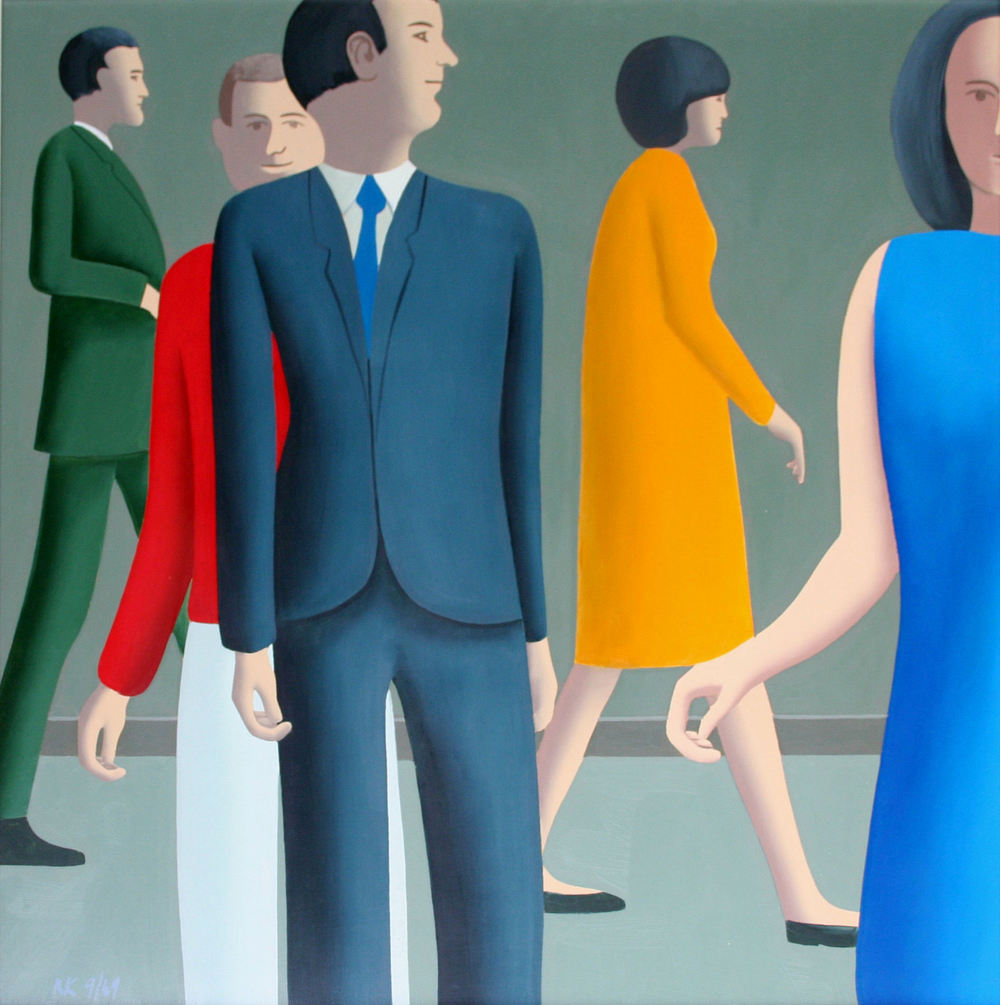 People Passing,  1969  oil on hardboard, 670 x 670 mm