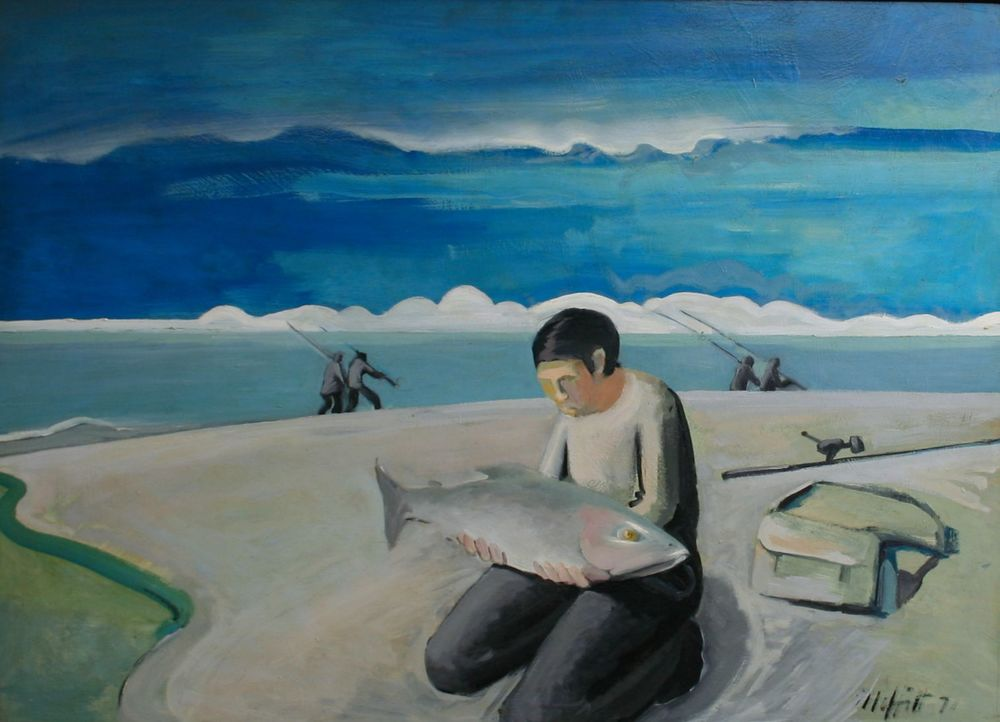 Only catch of the day, 1971 oil on board, 900 x 1200 mm SOLD