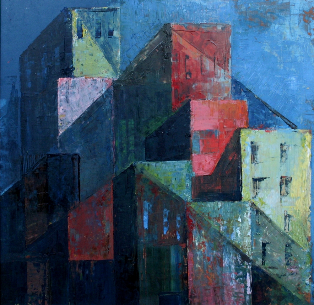 City at Night , c 1950s  oil on board, 435 x 465 mm