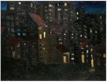 City at Night , c1962 Oil on board, 390 x 480 mm