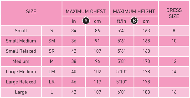 Typhoon Womens Size Chart