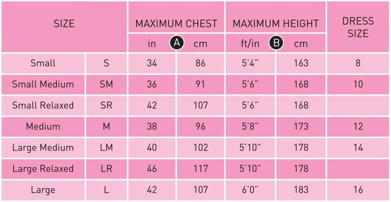 Typhoon Womens Size Chart