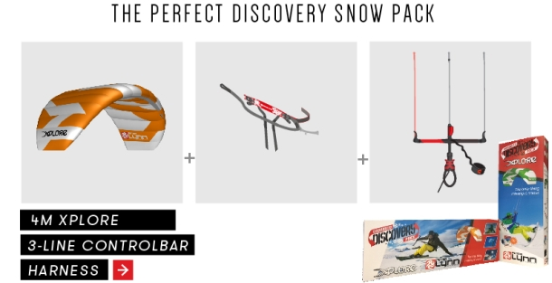 The Package Contains - 4m Xplore Snow Kite + Base Harness + Control Bar