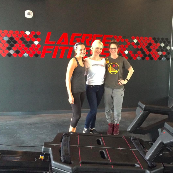 Samantha, Jessica and Danielle Lagree, the owner of Lagree Fitness Studio in LA